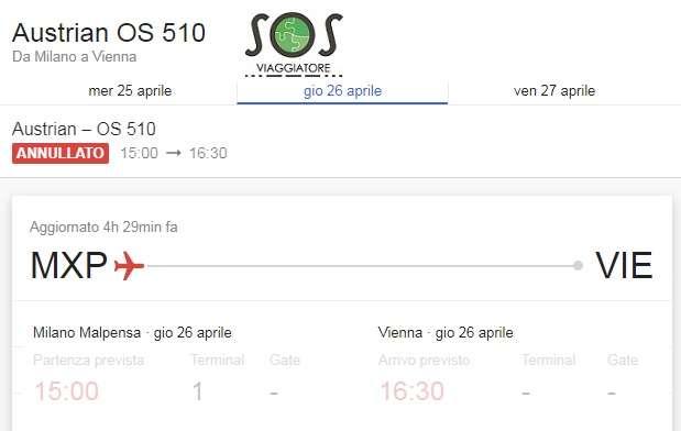 Volo Austrian OS 510 Milano Vienna