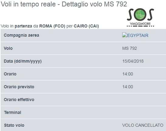 Volo Egyptair MS 792 Roma Cairo cancellato