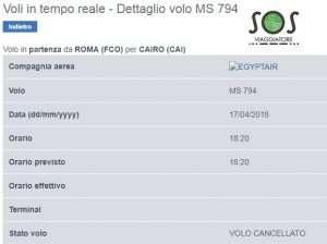 Volo Egyptair MS 794 Roma Cairo cancellato