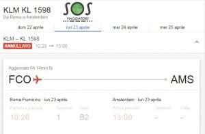Volo KLM KL 1598 Roma Amsterdam cancellato